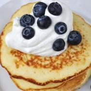 Lemon Ricotta Pancakes with Lemon Whipped Cream and Fresh Blueberries