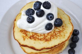 Lemon Ricotta Pancakes with Lemon Whipped Cream and Fresh Blueberries