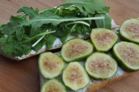 Arugula and Fresh Figs on Baguette